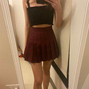 American Apparel Burgundy Tennis Skirt
